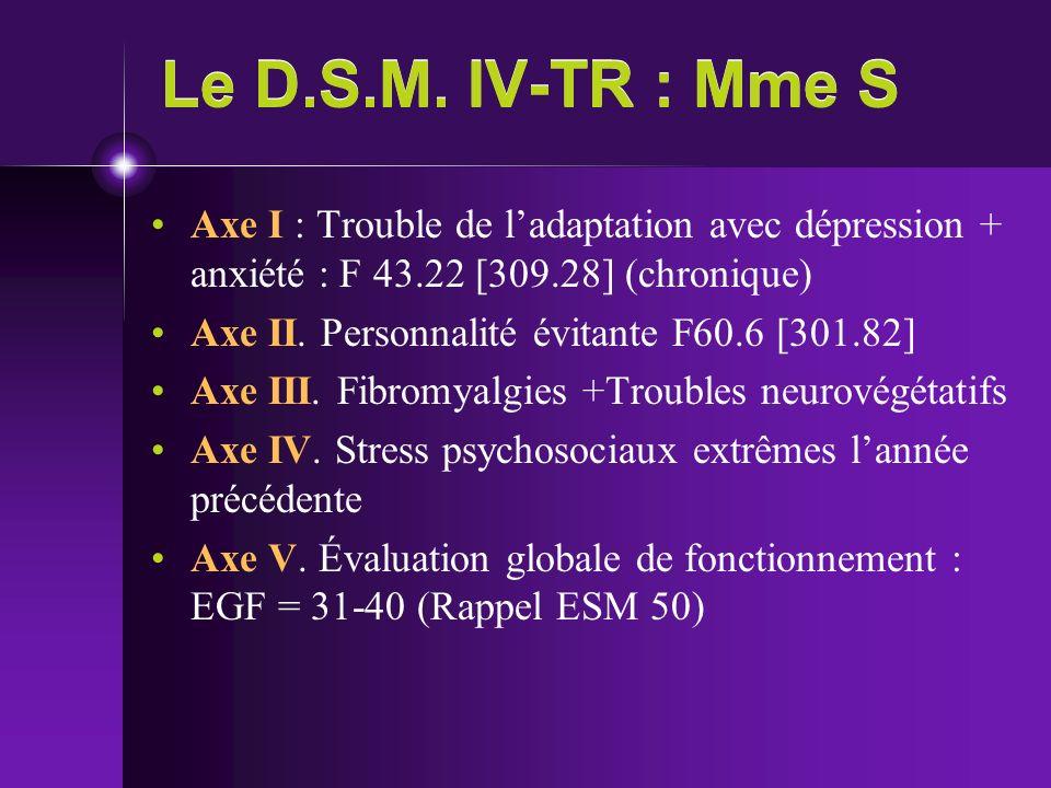 Le D.S.M. IV-TR : Mme S Axe I : Trouble de l'adaptation avec dépression + anxiété : F 43.22 [309.28] (chronique)